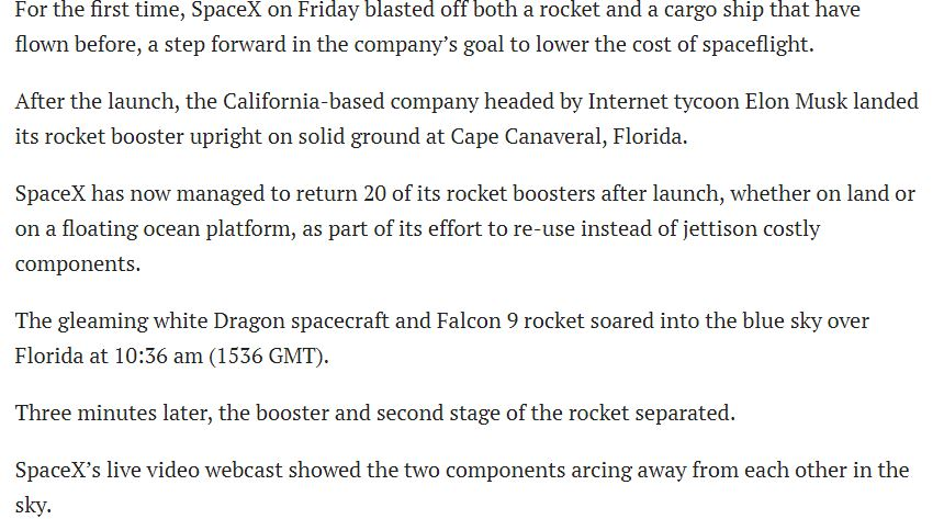 SpaceX launched recycled rocket and spaceship