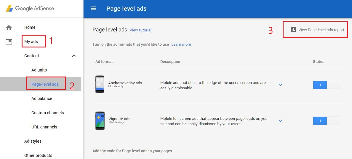 check earnings of page-level ads in Google AdSense?