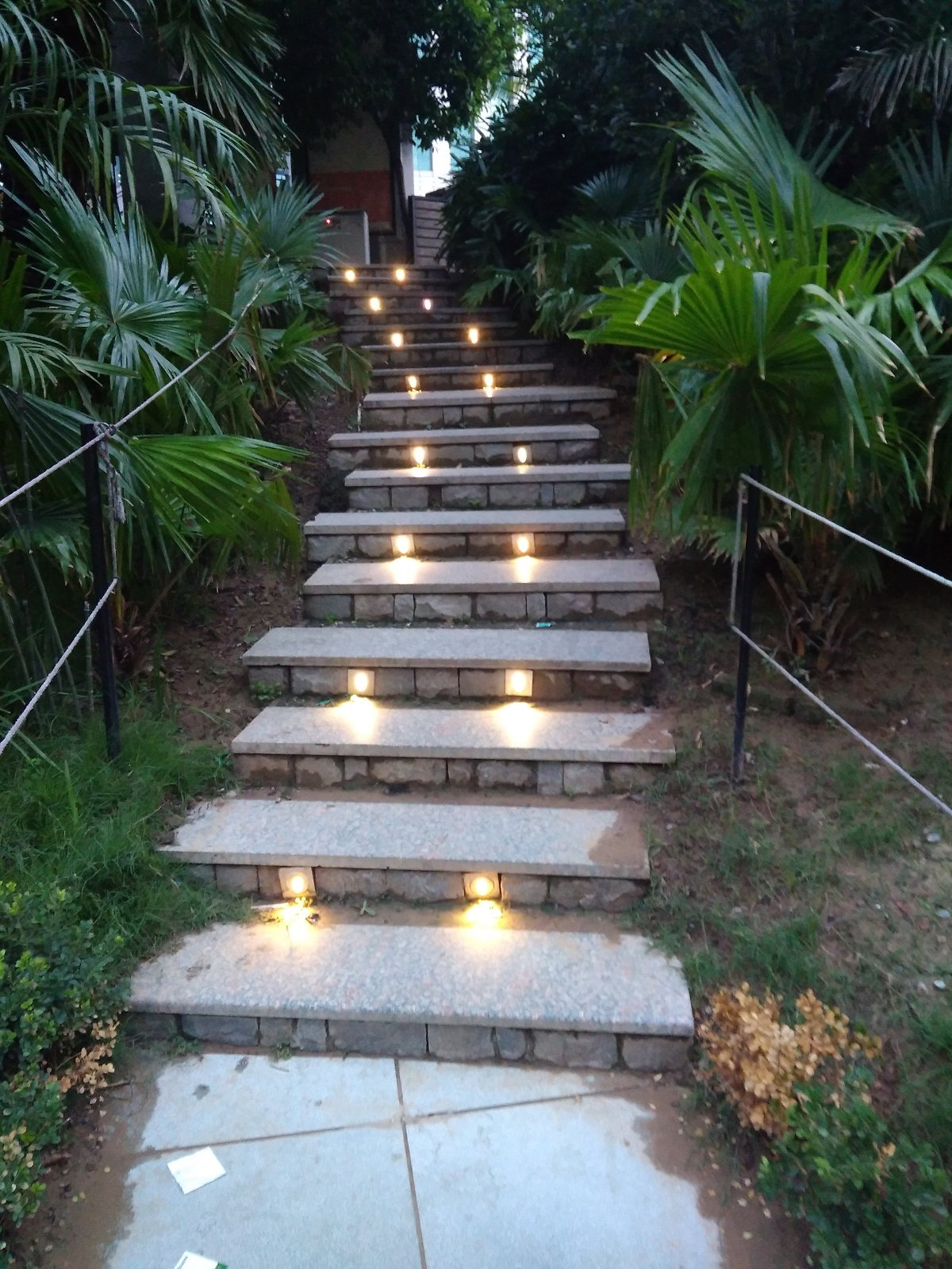 Beautiful view of stairs with lights