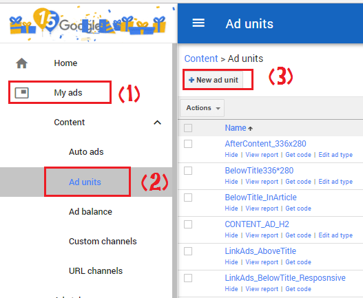 Create responsive link ad unit Step 1