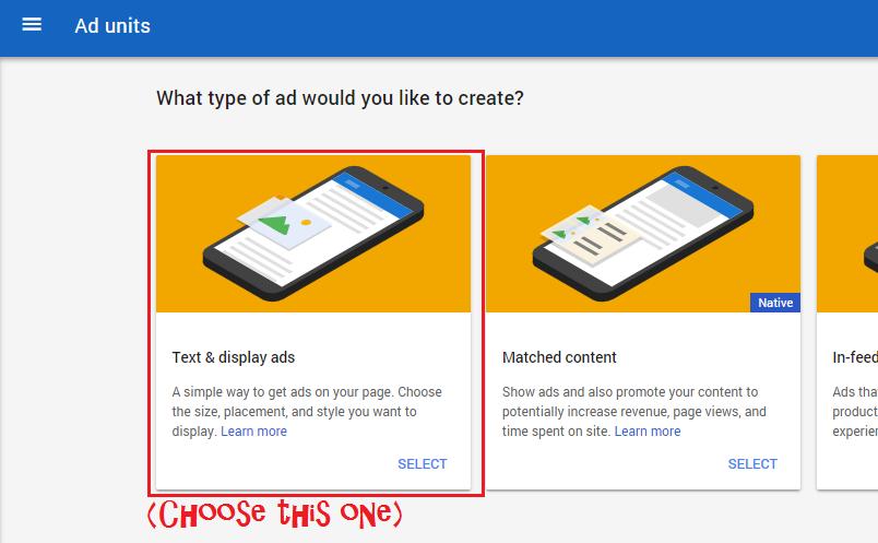 Create responsive link ad unit Step 2