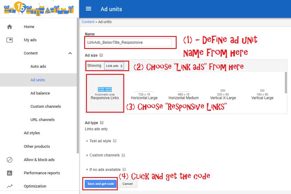 Create responsive link ad unit Step 3