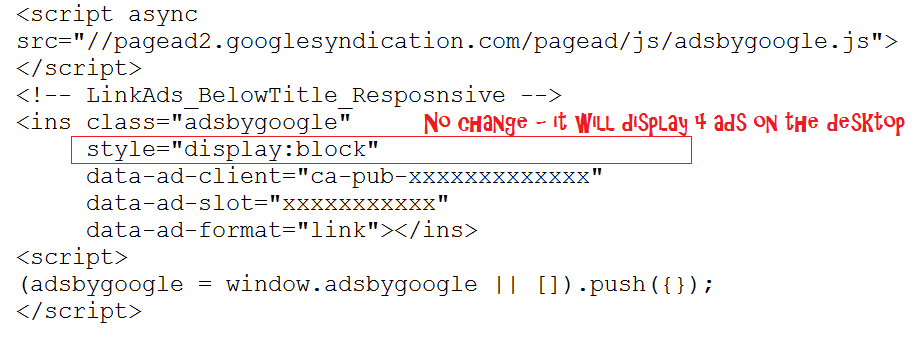 Link ad unit code 1