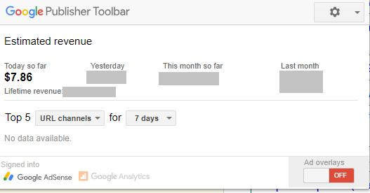 Google AdSense current Earnings
