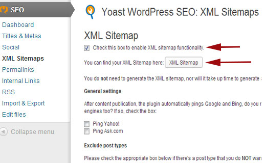 Generating XML sitmaps using Yoast SEO