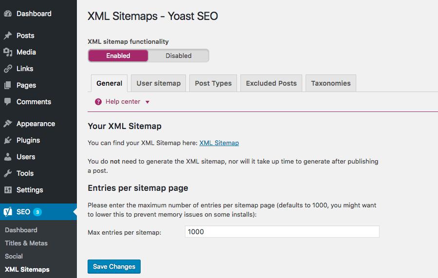 Type of sitemap - XML