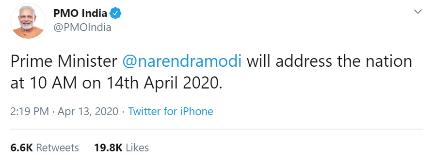 Prime Minister will address the nation at 10 AM on 14th April 2020
