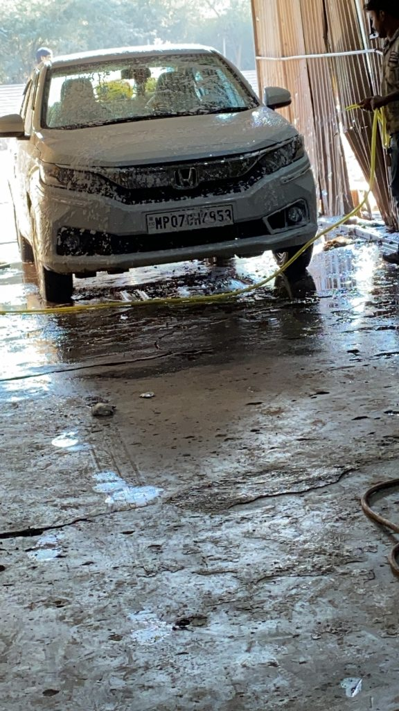 My car during the wash in Gwalior, MP