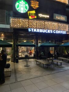 Working Place (Outer Sitting Area, Starbucks) – Night View